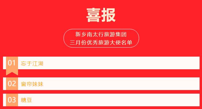 新乡南太行三月份优秀旅游大使名单新鲜出炉!